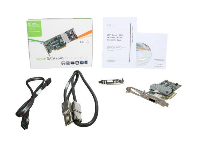 3Ware 9750-4i4e 4 Int & 4 Ext ports (1x SFF8087, 1x SFF-8088) PCI-E 6Gb/s SAS RAID Controller. KIT w/cables. LSI00241