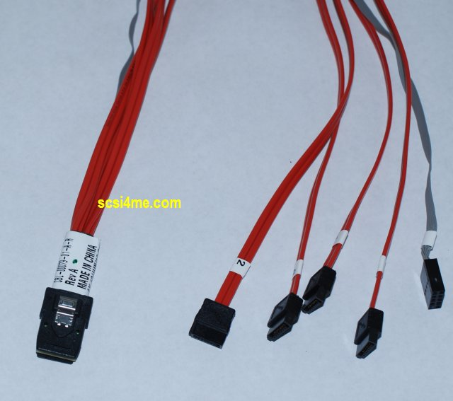 Amphenol / Adaptec CBL-00079-01-A-R SFF-8087 to (4) 7-Pin SATA Fanout Cable with sff-8448 Sideband. 0.5 Meter