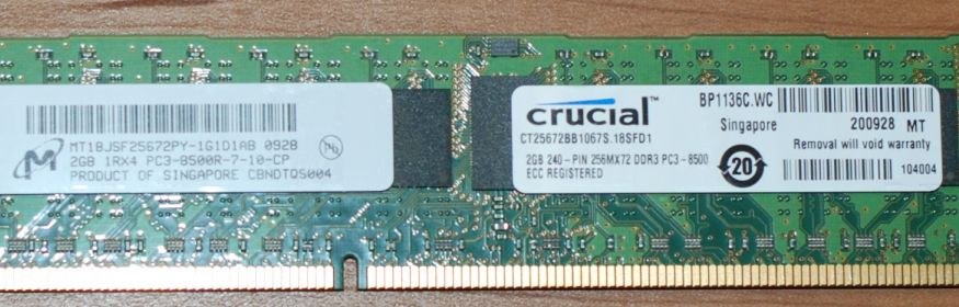Crucial CT25672BB1067S 1RX4 256Mx72 PC3-8500R 2GB 240-pin ECC Registered DDR3 Memory