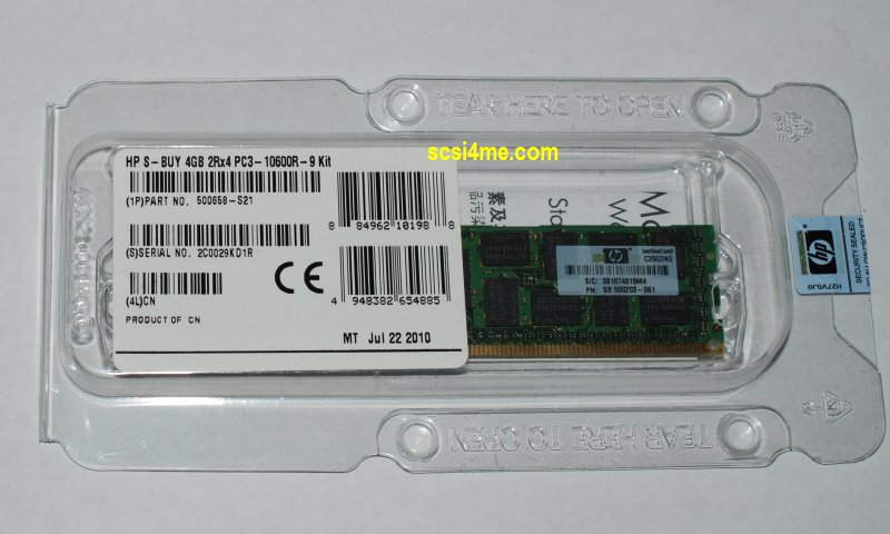 HP 500658-S21 4GB (1x4GB)  2Rx4 PC3-10600R-9 kit  Memory Kit/S-Buy