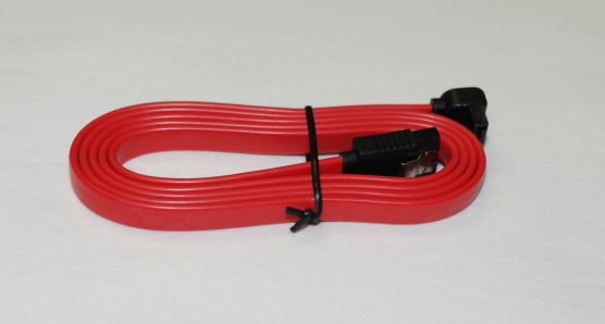 1-Meter 7-Pin SATA Cable with One Straight Connector and One 90-Degree Angled Connector