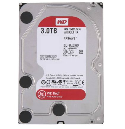"WD Red WD30EFRX 3TB 7200RPM 3.5"" SATA 6Gb/s Hard Drive for NAS w/64MB Cache"