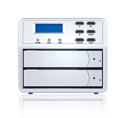Sans Digital MobileSTOR MS2UT+ - 2 Bay SATA to eSATA/USB 2.0 RAID 0 / 1 / SAFE33 / 50 Enclosure. Silver color.